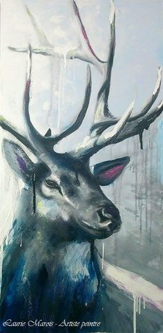 """Snowdeer"" 15X30. Huile sur toile. Laurie Marois Artiste-PEINTRE Animal Art, Nature Art, Illustration Art, Art, Animal Paintings, Watercolour Inspiration, Thai Art, Deer Art, Abstract Animals"