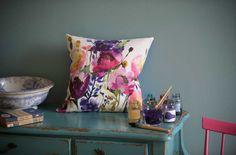 cheery watercolour pillows : blue bell grey