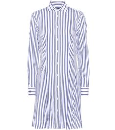 POLO RALPH LAUREN - Striped cotton dress - Elevate your preppy edit with Polo Ralph Lauren's striped cotton dress. In classic blue and white, this shirt-style design has been tailored for a close fit in the body that flares out elegantly in the skirt. How do we like wearing ours? Layered under cropped-sleeve knitwear with the sleeves artfully rolled up. - @www.mytheresa.com