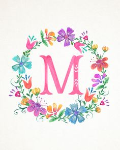 M Floral Wreath Monograms (The Cottage Market) Monogram Wreath, Monogram Letters, Letters And Numbers, Monogram Wallpaper, Alphabet Wallpaper, Floral Letters, Letter Art, Flower Frame, Lettering Design