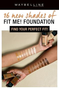 16 NEW shades of the fan favorite matte drugstore foundation, Maybelline Fit Me! Matte + Poreless Foundation, have just launched! Foundation for very fair skintones? Check. Foundation for rich, deep skintones? Check! Ideal for normal to oily skin, our exclusive matte foundation formula features micro-powders to control shine and blur pores. Get your perfect foundation shade with our Fit Me! line. Click through to explore our Fit Me! collection.