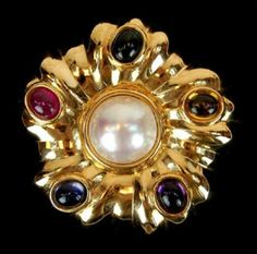Found on EstateSales.NET: 14k Pearl and Multi-Stone Flower Brooch