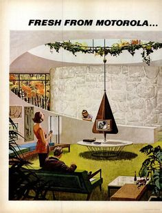 Motorola (1962) Why sit next to the fireplace when you could sit next to a tv that looks like a fireplace?