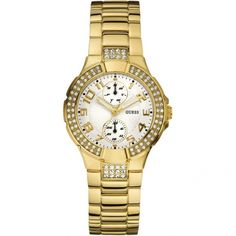Guess Women's Gold Gold Tone Stainles-Steel Quartz Watch with White Dial Casual Watches, Watches For Men, Color Dorado, Cool Things To Buy, Stuff To Buy, Quartz Watch, Fashion Watches, Gold Watch, Chronograph