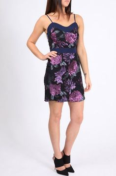 Sequin Floral Bodycon Dress lilac