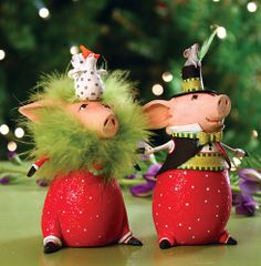 Patience Brewster - Pierre and Phyllis Pig Ornament - Set of 2