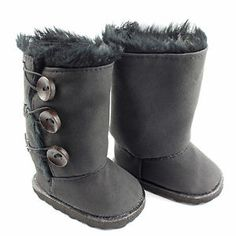 Winter Warm Black Button Shoes Boots Doll Clothes for 18