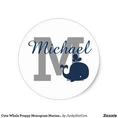Cute Whale Preppy Monogram Marine Blue Classic Round Sticker @zazzle #junkydotcom Aug 2 2016