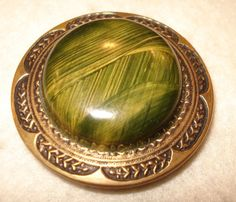 Large Celluloid Coat Button, Green Patterned Center
