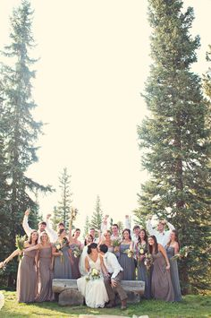 Bridal Party together at the Colorado Ranch Wedding--Melissa Hearts Weddings