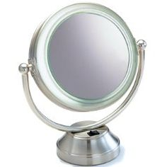 """This attractive 8 1/2"""" Vanity Mirror features a Satin Nickel finish.  The Halo Fluorescent Coolite really gives you that even light you need.  It is very modestly priced!"""