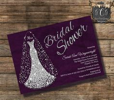 Wedding Dress Invitation, Bridal Shower, Diamond wedding dress invitation, Bridal Shower invitations, Rhinestone Invitation, Silver & Purple