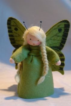 Butterfly - Flower Child - Waldorf Inspired - Nature TableThe little Butterfly is made of 100 % wool-felt, fairy tale-wool and tricot material. centimeters high The filling Waldorf Crafts, Waldorf Toys, Felt Fairy, Clothespin Dolls, Nature Table, Tiny Dolls, Flower Fairies, Felt Dolls, Felt Ornaments