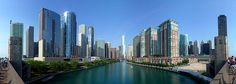 The Chicago River is the south border (right) of the Near North Side and Streeterville and the north border (left) of Chicago Loop, Lakeshore East and Illinois Center (from Lake Shore Drive's Link Bridge with Trump International Hotel and Tower at jog in the river in the center).