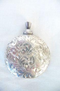 Vintage & Collectable Sterling Silver Perfume Bottle : Oak Leaf Design #Scentbottle