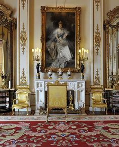 "The White Drawing Room at Buckingham Palace, painting of Queen Alexandra (wife of Edward VIII).  To the family, the room is simply known as ""the White."""