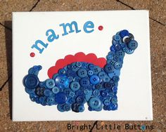 I love buttons! I especially loved making this cute little button dinosaur with my blue button collection!