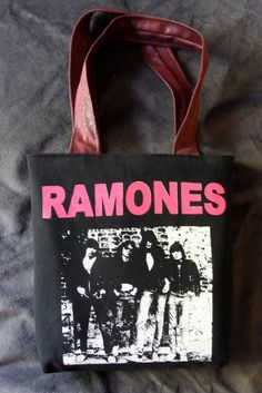 THE RAMONES Upcycled Rock Band Tshirt Tote Bag by evilrose