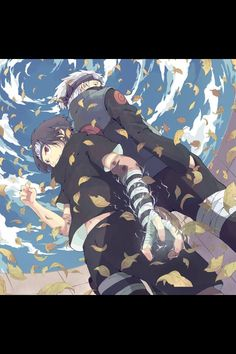 Sasuke and kakashi arriving at the chunin exam