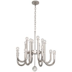 Robert Abbey Jonathan Adler Milano Polished Nickel Chandelier S755