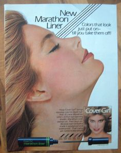 Vintage 80's Ad 1984 COVER GIRL EYELINER Makeup Beauty Eyes Woman Face Beautiful Makeup Ads, Retro Makeup, No Eyeliner Makeup, Beauty Ad, Beauty Makeup, Beauty Products, 80s Ads, Kelly Emberg, Sun Care