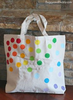 DIY Tote Bag for Kids Using Stencils- Perfect for back to school or to take to the library!