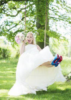 Bride on a swing!  #bride #wedding #weddingphotos  Justin Alexander 8630  Christian Louboutin Lady Peep Mini Glitter 150s