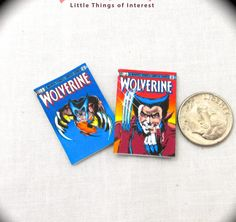 2 Miniature WOLVERINE COMIC Books Dollhouse Miniature Comic 1:12 Scale *2 FOR 1* #LittleTHINGSofInterest