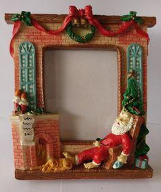 Christmas Decor Fireplace Sleeping Santa Dog Picture Frame Photos Frame #Unbranded #Holiday