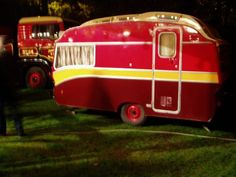 red & yellow camper