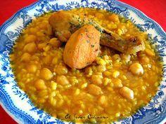 Potaje de garbanzos con arroz y pollo