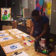 """Student Necole is loving instructor Lou Horton's Painting with Prints class! Saturdays 5-7 @artbarraleigh"""