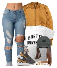 """""""Dark Grey & Yellow Gold"""" by oh-aurora ❤ liked on Polyvore featuring H&M, adidas Originals, Chopard, NIKE, Too Faced Cosmetics and GUESS"""