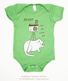 """Picture perfect! Available in sizes 3-6 months, 6-12 months, 12-18 months and 18-124 months. """"Ready for my Close Up"""" Cat Onesie by Susie Ghahremani / boygirlparty.com – the boygirlparty shop – shop.boygirlparty.com"""