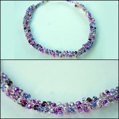 Wire Crochet Necklace Featuring Purple Seed Beads Combined With Pale Pink Colored Copper Wire
