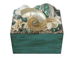 Aqua Blue and Pearl Nautilus Beach Decor Shell Box -Seashell Box by GoneCoastalDesigns on Etsy