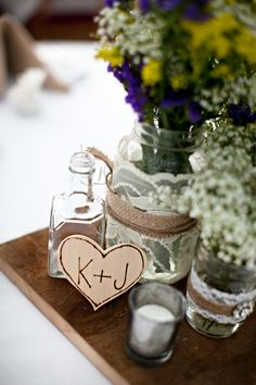 rustic wedding centerpieces.. JUST BECAUSE IT ALREADY HAS THE INITALS. lol