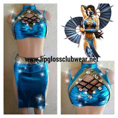 Kitana Mortal Combat Inspired Two Piece - Theme Wear- Dance - Assassin - Halloween Costume - Custom - Theatre Costume - Cosplay Rave Costumes, Theatre Costumes, Sexy Halloween Costumes, Halloween Cosplay, Cosplay Costumes, Rave Outfits, Cosplay Outfits, Sexy Outfits, Cosplay Ideas