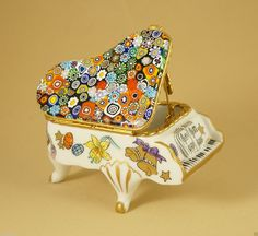 EASTER FRENCH LIMOGES BOX GRAND PIANO MURANO MILLEFIORI VENITIAN ART GLASS TOP