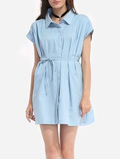 Plain Bowknot Courtly Button Down Collar Shift Dress