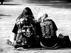 metalhead couple lying on the road :)                                                                                                                                                                                 More