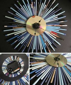 I love this clock.recycled magazine pages and an old CD. Cd Recycle, Recycling, Ways To Recycle, Upcycle, Recycled Cds, Recycled Crafts, Recycled Jewelry, Art Cd, Crafts With Cds