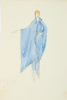Lucile studio sketches, cape, early 1920's