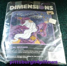 Dimensions - Magical Wizard - Stamped Needlepoint  Canvas - 5 x 5 - Seal Broken But Looks To Be Complete by pittsburgh4pillows on Etsy