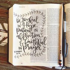 Bible journaling by bible journaling библия, се Scripture Art, Bible Art, Beautiful Words, Bibel Journal, Quotes Arabic, My Bible, Romans Bible, Romans 12 12, Psalms