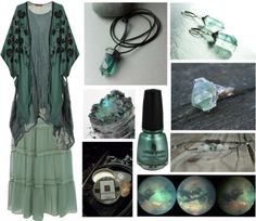 hexeknochen:  Ocean Storm by maggiehemlock featuring caftan tops  Short a line dress, $50 / H M caftan top, $61 / Miss Selfridge green maxi skirt / Black heart pendant / Mineral powder makeup / China glaze nail color / Green Fluorite earrings Sterling Silver fine by AliraTreasures / crystal green fluorite adjustable tinny ring by Blacksmithworkshop / Season of The Witch Natural Solid Perfume  Apothecary… / Fluorite Rose Quartz Moonstone Meditation Bracelet by PineShanty