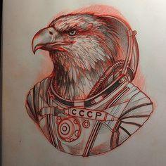 Regardez cette photo Instagram de @lynnakura • 286 J'aime #illustration #woman #woman #girl #neotraditionel#neotraditional #neo traditionel #draw #drawing #tattoo#ink #tattooed #inked animal eagle astronaut