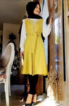 Gamze Polat - İnci Yelek Oksit Sarı