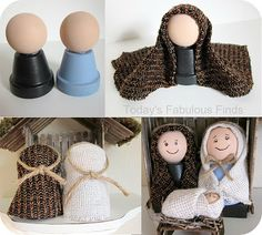 Make Your Own Childrens' Nativity Set - Manualidades - Flower Pot Crafts, Clay Pot Crafts, Craft Stick Crafts, Christmas Projects, Holiday Crafts, Nativity Ornaments, Nativity Crafts, Christmas Nativity, Noel Christmas