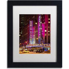 Trademark Fine Art Night Walk in Manhattan Canvas Art by Philippe Hugonnard, White Matte, Black Frame, Size: 16 x 20, Pink